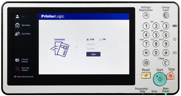 PrinterLogic Control Panel Application Login Screen