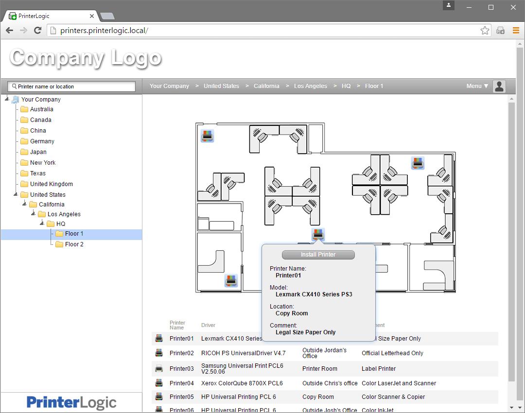 printer installer map