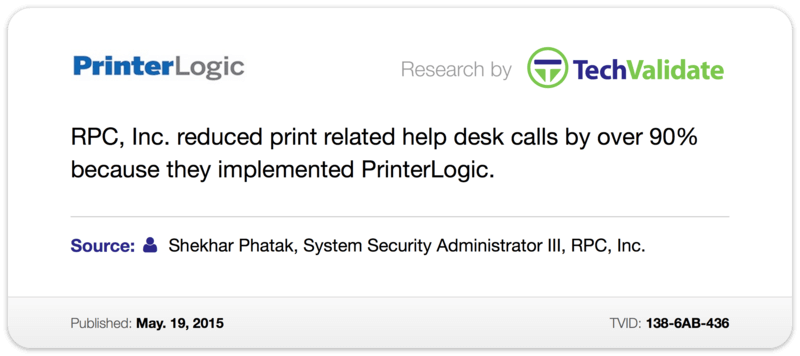RPC, inc. Reduced Print Related Help Desk Calls